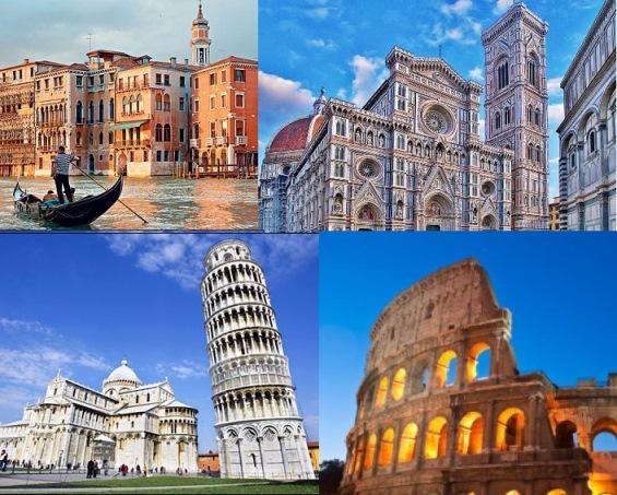 Venice, Florence, Pisa, Rome